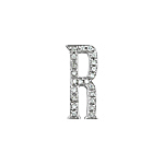 "Sterling Silver Pave CZ ""R"" Pendant"