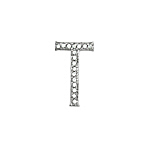 "Sterling Silver Pave CZ ""T"" Pendant"