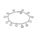 Sterling Silver Curb Chain Bracelet with Peace Sign Charms