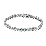 Sterling Silver Rhodium Plated 6.5mm Wave and CZ Stone Tennis Bracelet