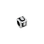 "Sterling Silver ""U"" Square Bead"