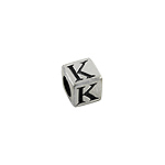 "Sterling Silver ""K"" Square Bead"