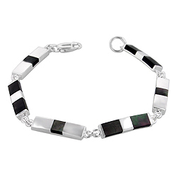Sterling Silver Rectangle Links Bracelet with Black Mother of Pearl