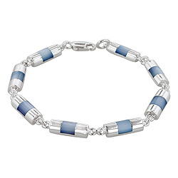 Sterling Silver Half-Cylinder Links Bracelet with Blue Mother of Pearl