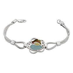 Sterling Silver Flower Bracelet with Blue-Yellow-Brown Mother of Pearl