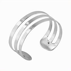 Sterling Silver Three Line Flat Cuff