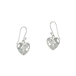 Sterling Silver Filigree Heart Dangle Earrings with White Mother of Pearl