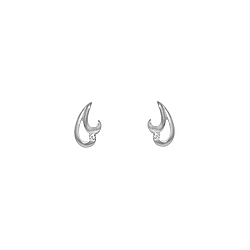 Sterling Silver High Polish and Matte Two Curls Stud Earrings with White CZ