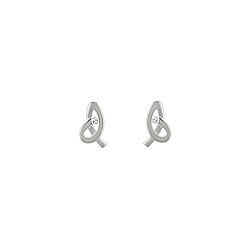 "Sterling Silver High Polish and Matte ""Pretzel"" Stud Earrings with White CZ"