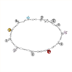 Sterling Silver Anklet with Balls and Multicolor Crystal Charms