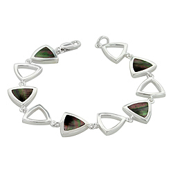 Sterling Silver Triangular Links Bracelet with Black Mother of Pearl