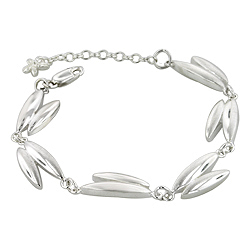 Sterling Silver High Polish and Matte Finish Two Petal Links Bracelet
