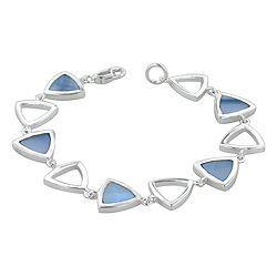 Sterling Silver Triangular Links Bracelet with Blue Mother of Pearl