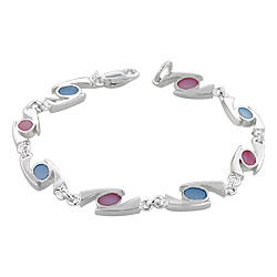 "Sterling Silver ""69"" Links Bracelet with Pink and Blue Mother of Pearl"