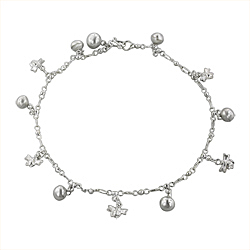 Sterling Silver Anklet with Bee and Ball Charms