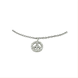 Sterling Silver Rhodium Plated Cable Chain Anklet with Pave CZ Piece Sign Charm