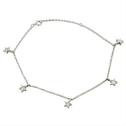 Sterling Silver Cable Chain and Star Charms Anklet with White CZ