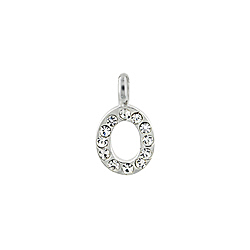 "Sterling Silver ""O"" Initial Pendant with White CZ"