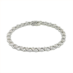 Sterling Silver Circle and Stone Bracelet with White CZ