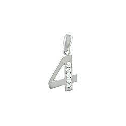 "Sterling Silver ""Four"" Pendant with White CZ"
