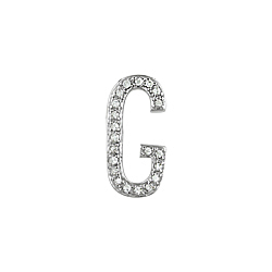 "Sterling Silver Pave CZ ""G"" Pendant"