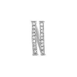 "Sterling Silver Pave CZ ""N"" Pendant"