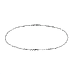 Sterling Silver 1.5mm Rope Chain Anklet
