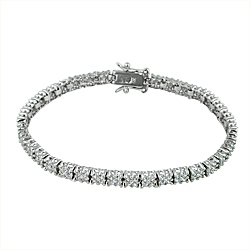 Sterling Silver Rhodium Plated Double Row Brilliant CZ 4mm Tennis Bracelet