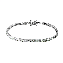 Sterling Silver Rhodium Plated 3.5mm Wave and CZ Stone Tennis Bracelet
