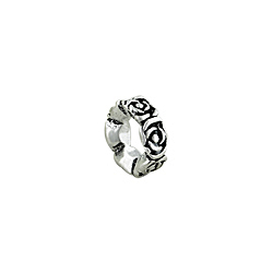 Sterling Silver Rose Flower Bead Spacer
