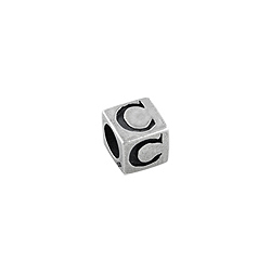 "Sterling Silver ""C"" Square Bead"