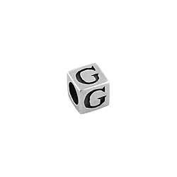 "Sterling Silver ""G"" Square Bead"