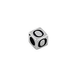 "Sterling Silver ""O"" Square Bead"