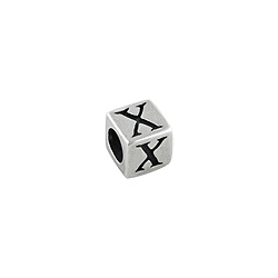 "Sterling Silver ""X"" Square Bead"