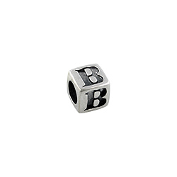 "Sterling Silver ""B"" Square Bead"