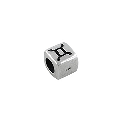 Sterling Silver Gemini-TheTwins Square Bead
