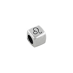 Sterling Silver Leo-The Lion Square Bead