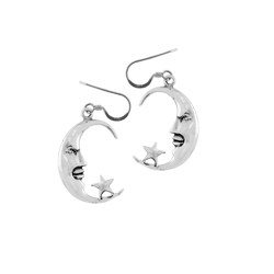 Sterling Silver Moon and Star Dangle Earrings