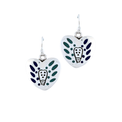 Sterling Silver Heart Dangle Earrings with Blue Enamel Tribal Pattern