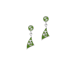 Sterling Silver Circle and Triangle Stud Earrings with Green Enamel