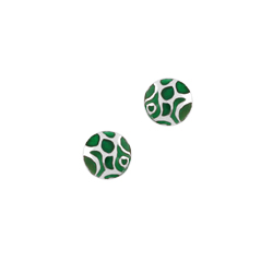 Sterling Silver Round Stud Earrings with Green Circles and Lines Enamel Pattern