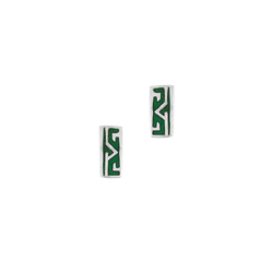 Sterling Silver Patterned Rectangle Stud Earrings with Green Enamel