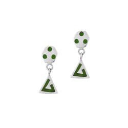 Sterling Silver Hexagon and Triangle Stud Earrings with Green  Enamel Pattern
