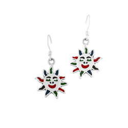 Sterling Silver Sun Dangle Earrings with Multicolor Enamel Inlays