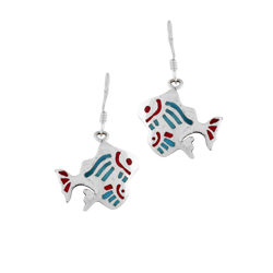 Sterling Silver Two Fish Dangle Earrings with Blue and Red Enamel Inlays