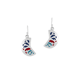 Sterling Silver Orange Lobe Dangle Earrings with Multicolor Enamel Inlays