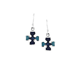 Sterling Silver Cross Dangle Earrings with Blue and Navy Enamel Inlay