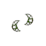 Sterling Silver Half-Moon Stud Earrings with Green Enamel