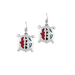 Sterling Silver Turtle Dangle Earrings with Multicolor Enamel Inlays
