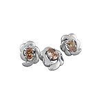 Sterling Silver Flowers Set with Champagne CZ